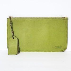 Coach vintage green leather zipper pouch